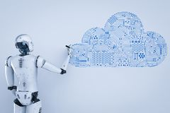 Robot with cloud. 3d rendering humanoid robot with circuit cloud Stock Photo
