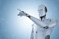 Robot hand pointing. 3d rendering humanoid robot hand pointing with circuit background Royalty Free Stock Photography