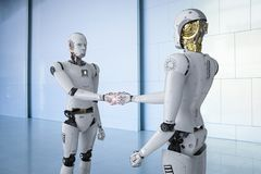 Robot hand shake. 3d rendering humanoid robot hand shaking with another Royalty Free Stock Image