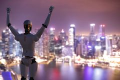 Robot with hands up. 3d rendering humanoid robot with hands up to sky stock image