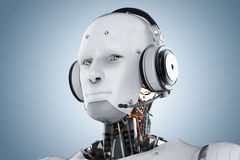 Humanoid robot with headset vector illustration