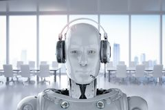 Robot wear headset. 3d rendering humanoid robot with headset on white background stock illustration