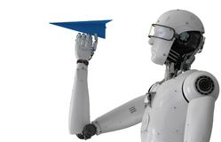 Robot holding paper plane. 3d rendering humanoid robot holding paper plane stock illustration