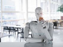 Robot playing cube. 3d rendering humanoid robot playing cube puzzle Stock Image