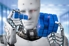 Robot playing puzzle. 3d rendering humanoid robot playing cube puzzle Royalty Free Stock Images