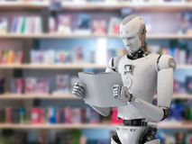 Robot reading book. 3d rendering humanoid robot reading a book in library Royalty Free Stock Photo