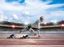 Humanoid robot running. 3d rendering humanoid robot running in stadium stock illustration