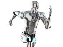 Humanoid robot running. 3d rendering humanoid robot running on white background stock illustration