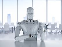 Robot sit in office. 3d rendering humanoid robot sitting behind table in office stock illustration