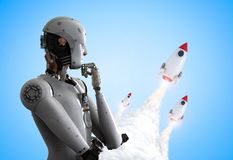 Robot with space shuttle. 3d rendering humanoid robot with space shuttle launch Royalty Free Stock Images