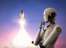 Robot with space shuttle. 3d rendering humanoid robot with space shuttle launch Royalty Free Stock Image