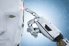 Robot thinking or computing. 3d rendering humanoid robot thinking or computing on white background Royalty Free Stock Image