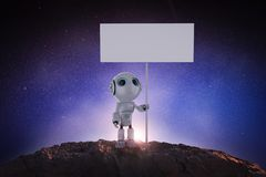 Robot with blank banner. 3d rendering humanoid robot with white blank banner