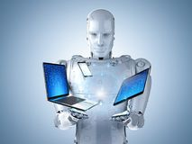 Robot with gadget. 3d rendering humanoid robot work with digital gadgets for social network stock photo