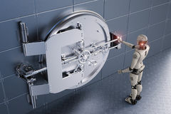 Robot working with bank vault. 3d rendering humanoid robot working with bank vault Royalty Free Stock Photography