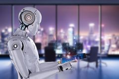 Robot work on tablet vector illustration