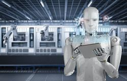Robot work on tablet. 3d rendering humanoid robot working with digital tablet royalty free illustration