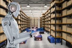 Robot work on tablet. 3d rendering humanoid robot working with digital tablet stock illustration