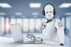 Robot with headset. 3d rendering humanoid robot working with headset and notebook royalty free stock photos