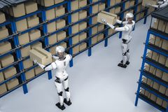 Robots carry boxes. 3d rendering humanoid robots carry boxes in warehouse Royalty Free Stock Photography