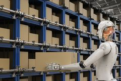 Robots carry boxes. 3d rendering humanoid robots carry boxes in warehouse Royalty Free Stock Images