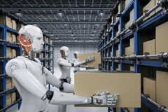 Robots carry boxes. 3d rendering humanoid robots carry boxes in warehouse Royalty Free Stock Photos