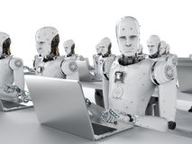 Robots work on laptop. 3d rendering humanoid robots working on laptop computer Stock Photo