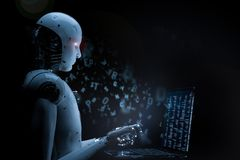 Robot with glass laptop. 3d rendering humsnoid robot working on glass laptop Royalty Free Stock Photography