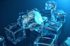 3D rendering ice cube on blue tint background. Frozen water cube. 3D rendering ice cube on blue tint background, Frozen water cube Royalty Free Stock Image