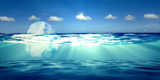 3d rendering of Iceberg with nice background sky. The 3d rendering of Iceberg with nice background sky Stock Photos