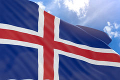 3D rendering of Iceland flag waving on blue sky background. Iceland is a Nordic island nation in Europe, Icelandic National Day is an annual holiday in Iceland Vector Illustration