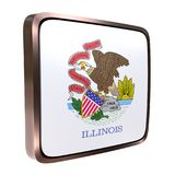 Illinois flag icon. 3d rendering of an Illinois State flag icon with a bright frame. Isolated on white background Stock Image