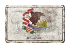 Old Illinois State flag. 3d rendering of an Illinois State flag over a rusty metallic plate. Isolated on white background Royalty Free Stock Images