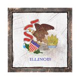 Old Illinois flag. 3d rendering of an Illinois State flag over a rusty metallic plate wit a rusty frame. Isolated on white background Royalty Free Stock Photos