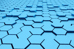 3d rendering : illustration of Abstract blue hexagonal geometric structure background. Royalty Free Stock Images
