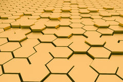 3d rendering : illustration of Abstract gold hexagonal geometric structure background. Royalty Free Stock Photos