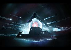 Abstract Artistic 3d Rendering Illustration Of A Powerful Alien Energetic Pyramid Artwork stock illustration