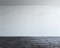 Big empty room with white brick wall. 3d rendering illustration of big modern empty room with white brick wall and rough wooden floor. Underground showroom Stock Photos