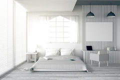 3D rendering : illustration of big spacious bedroom in soft light color.big comfortable double bed in elegant classic bed room. 3D rendering : illustration of Royalty Free Stock Images