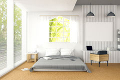 3D rendering : illustration of big spacious bedroom in soft light color.big comfortable double bed in elegant classic bed room Royalty Free Stock Image