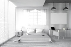 3D rendering : illustration of big spacious bedroom in soft light color.big comfortable double bed in elegant classic bed room Stock Image