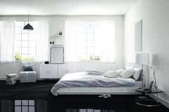 3D rendering : illustration of big spacious bedroom in soft light color.big comfortable double bed in elegant modern bedroom Royalty Free Stock Photography