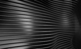 Abstract wave wall texture. 3d rendering illustration of black abstract wave wall texture. Modern parametric architecture elements Royalty Free Stock Image