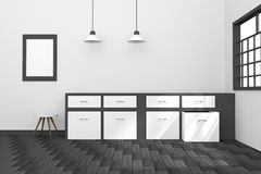 3D rendering : illustration of black and white interior modern kitchen room design with two vintage lamp hanging. wooden floor. Royalty Free Stock Photo