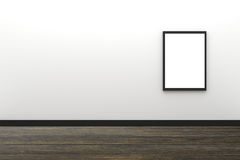 3D Rendering : illustration of blank black photo frame hanging on white wall interior with wooden floor,clipping path inside frame Stock Photography