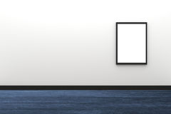 3D Rendering : illustration of blank black photo frame hanging on white wall interior with wooden floor,clipping path inside frame Stock Photo