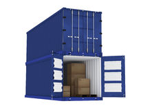3D rendering : illustration of blue container with cardboard boxes inside the container.business export import concept Royalty Free Stock Photo