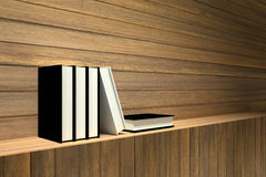 3D rendering : Illustration of books on wooden shelf or wooden bar against wooden wall.  Royalty Free Stock Photography