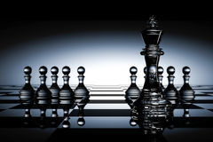 3D Rendering : illustration of chess pieces.the glass king chess at the center with pawn chess in the back.chess board with light. Drop background.leader vector illustration