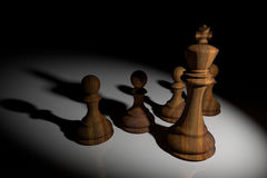 3D Rendering : illustration of chess pieces.the wooden king chess at the center with pawn chess in the back.light drop to chess Stock Photography